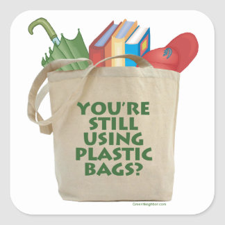 Plastic Bags Square Stickers
