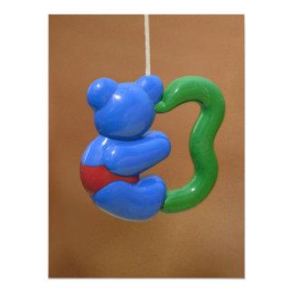 "Plastic blue bear toy 6.5"" x 8.75"" invitation card"