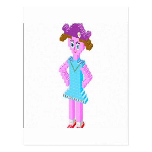 Plastic brick girl design postcards