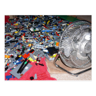 Plastic brick toys, washing, drying postcard