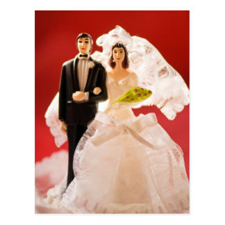 Plastic Bride And Groom Wedding Cake Postcards