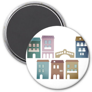 Plastic button with Design homes 7.5 Cm Round Magnet