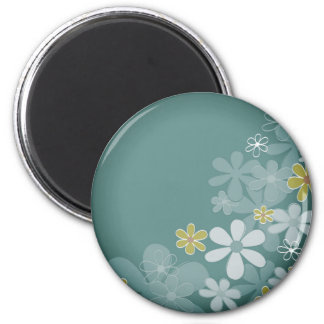 Plastic button with flowers 6 cm round magnet