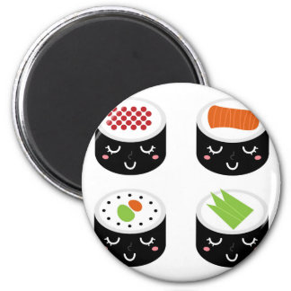 Plastic button with SUSHI 6 Cm Round Magnet