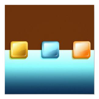 Plastic Buttons 13 Cm X 13 Cm Square Invitation Card