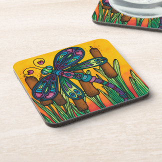 Plastic coasters /cork back (6): Dragonfly Series