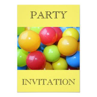 """Plastic Coloured Balls Party Invitation 5"""" X 7"""" Invitation Card"""