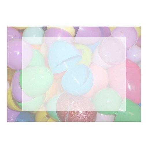 plastic colourful easter eggs pastel background custom invite