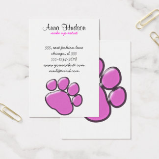 Plastic Dog Paw, Paw-print - Pink Black Business Card