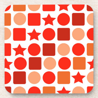 Plastic Drink Coaster with Orange Geometrics