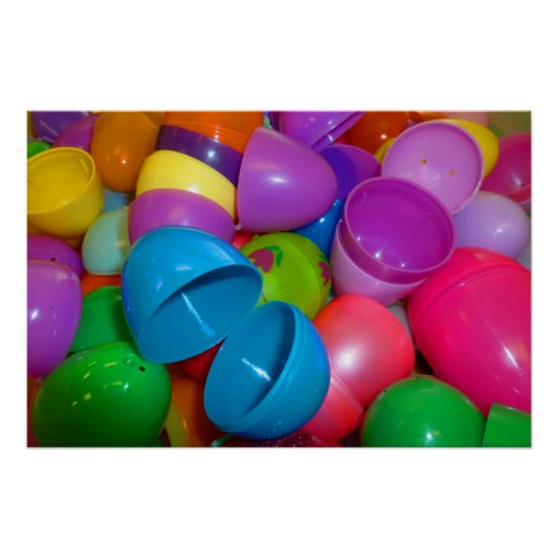 Plastic Easter Eggs Blue One Open Photograph Posters