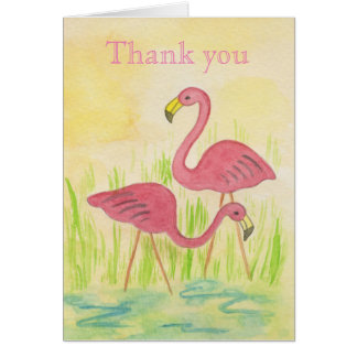 Plastic Flamingos thank you card