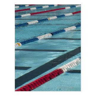 Plastic separators in a swimming pool creating postcard