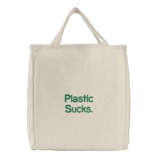 Plastic Sucks. Embroidered Tote Bag