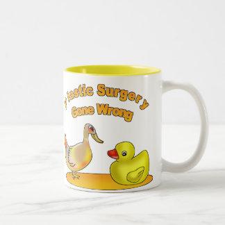 Plastic Surgery Gone Wrong Two-Tone Coffee Mug