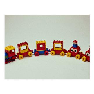 Plastic train set toy for kids postcard
