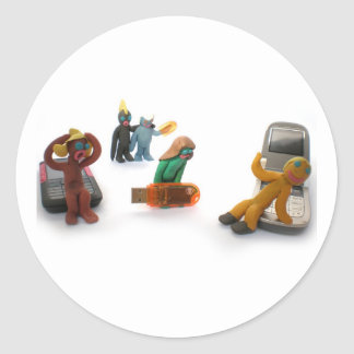plasticine little people round sticker