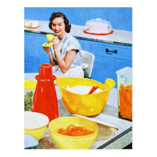 Plastics Suburban Kitsch Housewife Kitchen Post Card