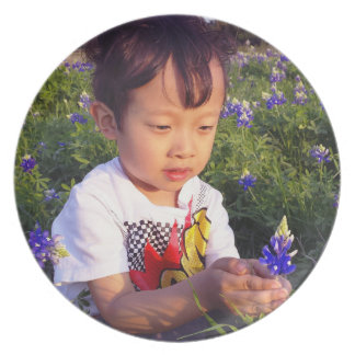 Plate - Blue Bonnets and child