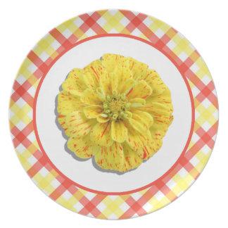 Plate - Candy Stripe Zinnia and Lattice