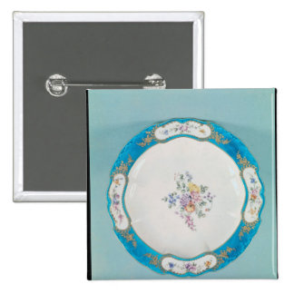 Plate decorated with a floral pattern, Sevres 15 Cm Square Badge