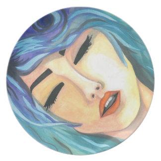 """Plate """"Deep"""" Crystal Cross Watercolors"""