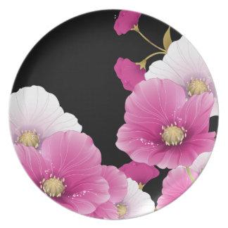 Plate Floral Pink Flowers Black DECOR SETS