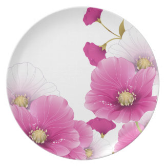 Plate Floral Pink Flowers White DECOR SETS