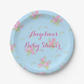 Plate for vintage dessert flowers blue and pink 7 inch paper plate