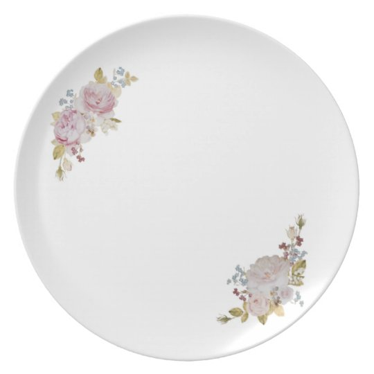 Plate of faint rose and forget-me-not
