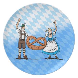 Plate Oktoberfest Lederhosen Dirndl Couple Pretzel