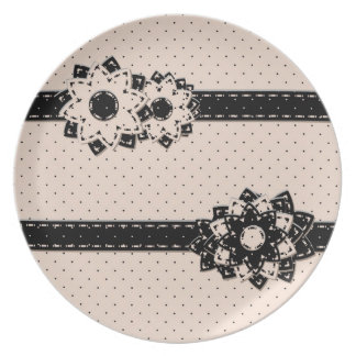 Plate Polka Dot and Flowers