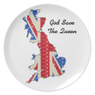 Plate UK Flag God Save The Queen