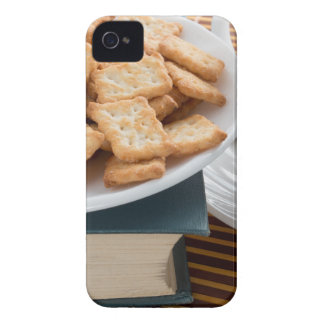 Plate with crackers and cup of tea iPhone 4 case