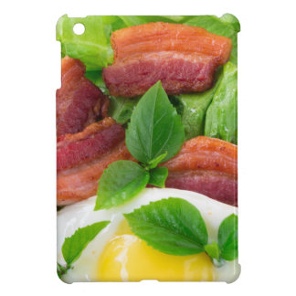 Plate with egg yolk, fried bacon and herbs cover for the iPad mini