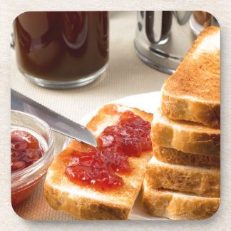 Plate with fried slices of bread for breakfast coaster