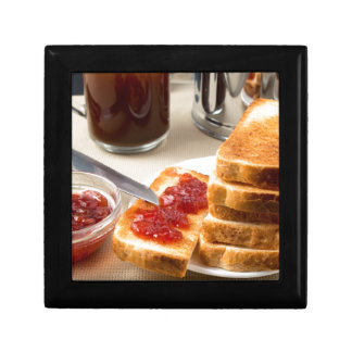 Plate with fried slices of bread for breakfast gift box