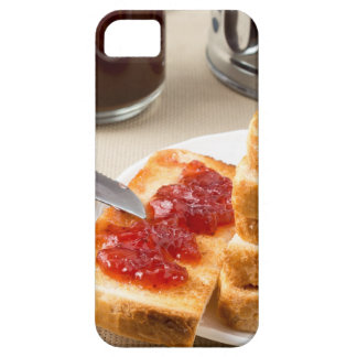 Plate with fried slices of bread for breakfast iPhone 5 covers