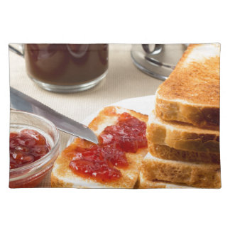 Plate with fried slices of bread for breakfast placemat