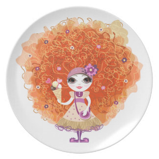 Plate with funny girl character