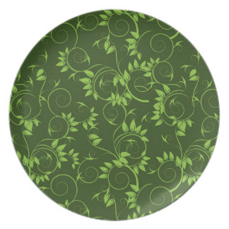 Plate with  green decorative  leafs