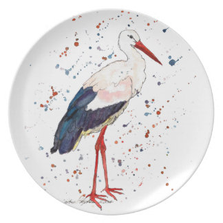 Plate with handpainted stork