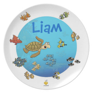 """plate with name for kids """"more under the sea """""""
