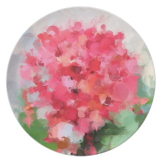 Plate with Pink Tropical Flower