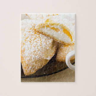 Plate with sweet pastries with sweet cheese jigsaw puzzle