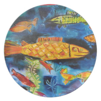 plate with whimsical fish painting