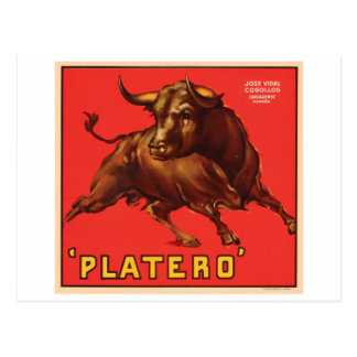 Platero Vintage Crate Label - Bull Postcards