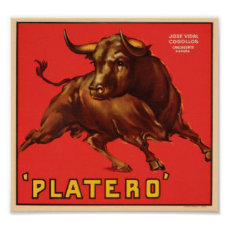 Platero Vintage Crate Label - Bull Poster