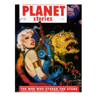 Platinum Blonde and her Monster Friend Postcard