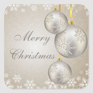 Platinum Gold Christmas Balls and Snow Square Sticker